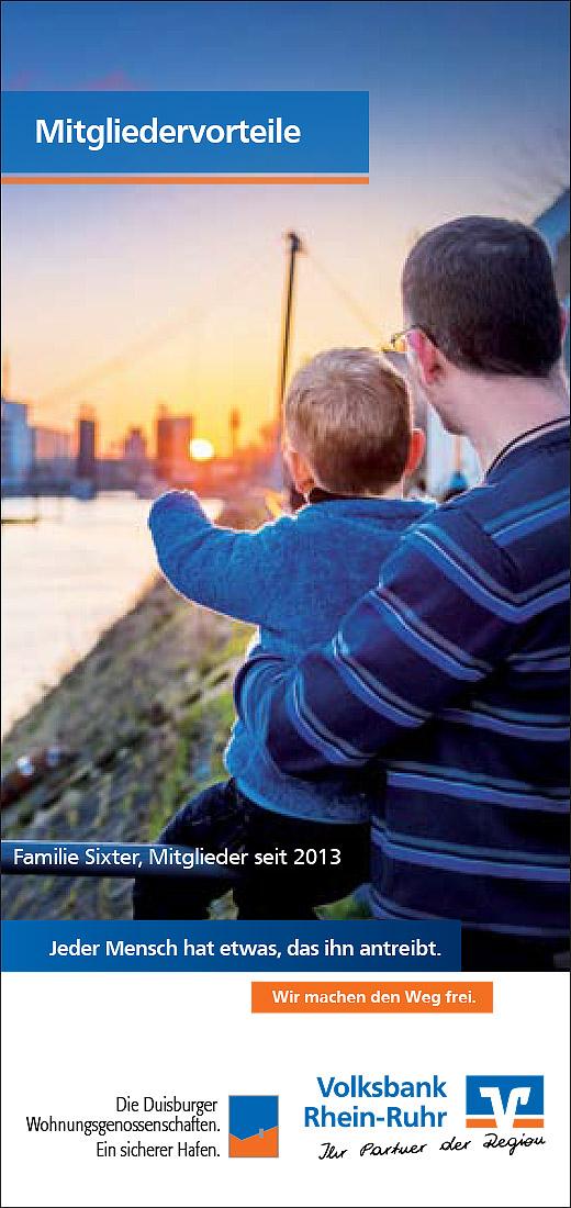 """""""Folder der VoBa Rhein-Ruhr und der Duisburger Wohnungsgenossenschaften"""""""