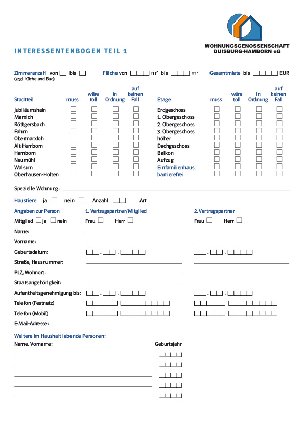"""""""Formular zur Wohnungsbewerbung"""""""